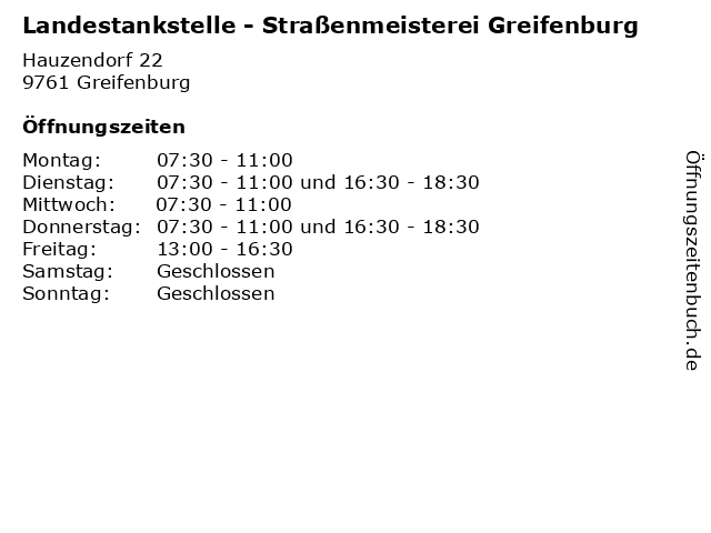 Landestankstelle - Straßenmeisterei Greifenburg in Greifenburg: Adresse und Öffnungszeiten