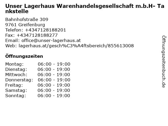 Unser Lagerhaus Warenhandelsgesellschaft m.b.H- Tankstelle in Greifenburg: Adresse und Öffnungszeiten