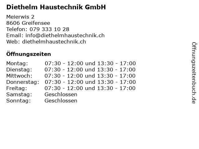 Diethelm Haustechnik GmbH in Greifensee: Adresse und Öffnungszeiten