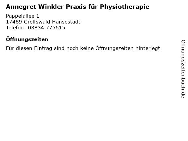 Annegret Winkler Praxis für Physiotherapie in Greifswald Hansestadt: Adresse und Öffnungszeiten