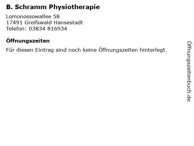 B. Schramm Physiotherapie in Greifswald Hansestadt: Adresse und Öffnungszeiten