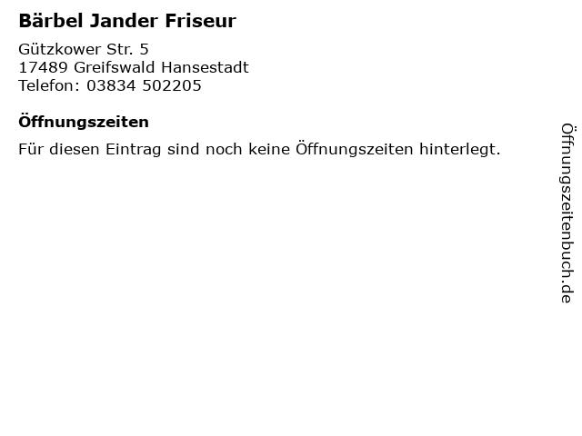 Bärbel Jander Friseur in Greifswald Hansestadt: Adresse und Öffnungszeiten