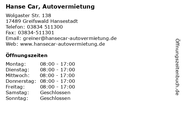 Bilder Zu Hanse Car Autovermietung In Greifswald Hansestadt