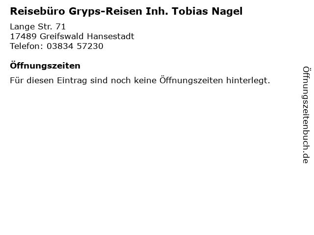 Reisebüro Gryps-Reisen Inh. Tobias Nagel in Greifswald Hansestadt: Adresse und Öffnungszeiten