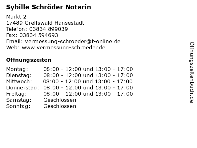 Sybille Schröder Notarin in Greifswald Hansestadt: Adresse und Öffnungszeiten
