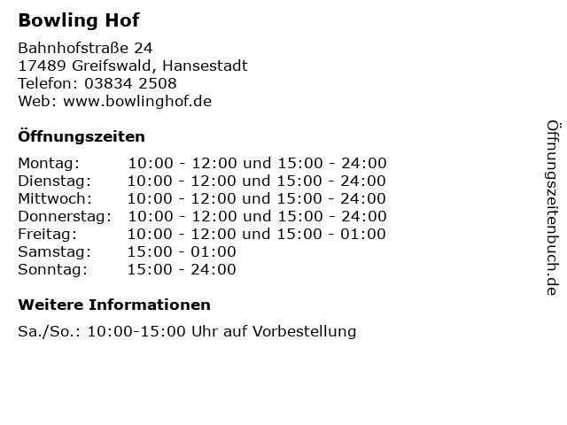 Bowling Hof in Greifswald, Hansestadt: Adresse und Öffnungszeiten