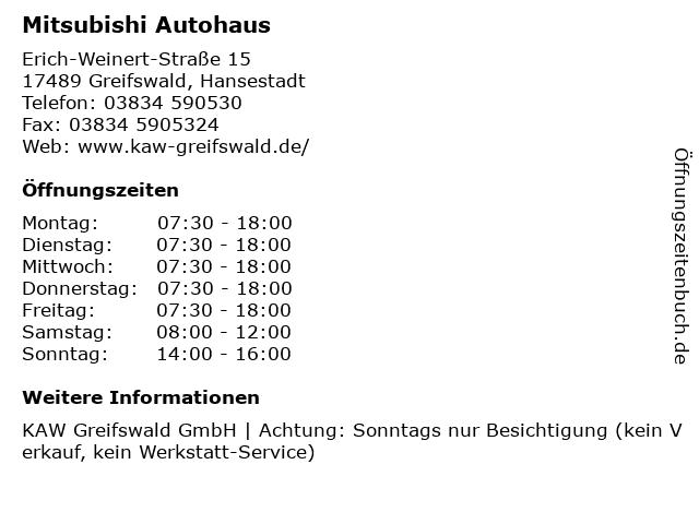 Mitsubishi Autohaus in Greifswald, Hansestadt: Adresse und Öffnungszeiten