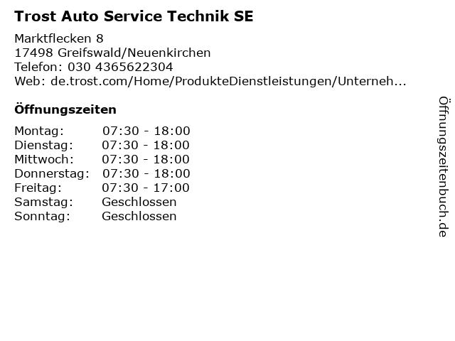 Trost Auto Service Technik SE in Greifswald/Neuenkirchen: Adresse und Öffnungszeiten