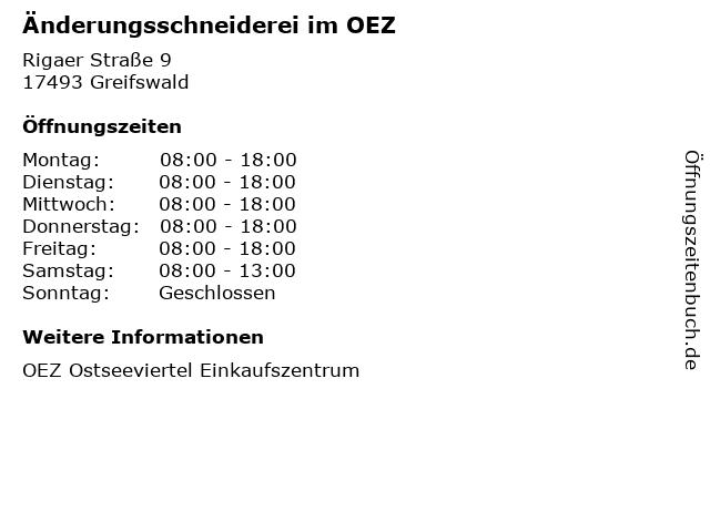 Änderungsschneiderei im OEZ in Greifswald: Adresse und Öffnungszeiten