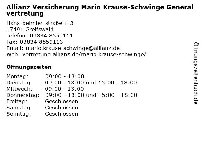 Allianz Hauptvertretung Mario Krause-Schwinge in Greifswald: Adresse und Öffnungszeiten