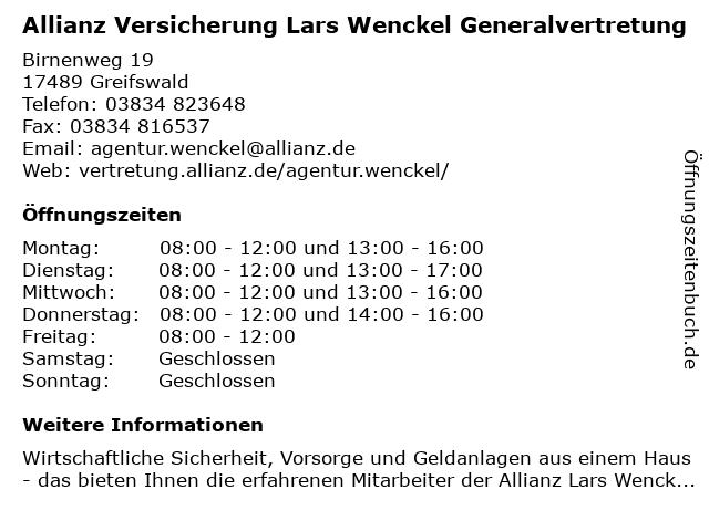 Allianz Versicherung - Generalvertretung Lars Wenckel in Greifswald: Adresse und Öffnungszeiten