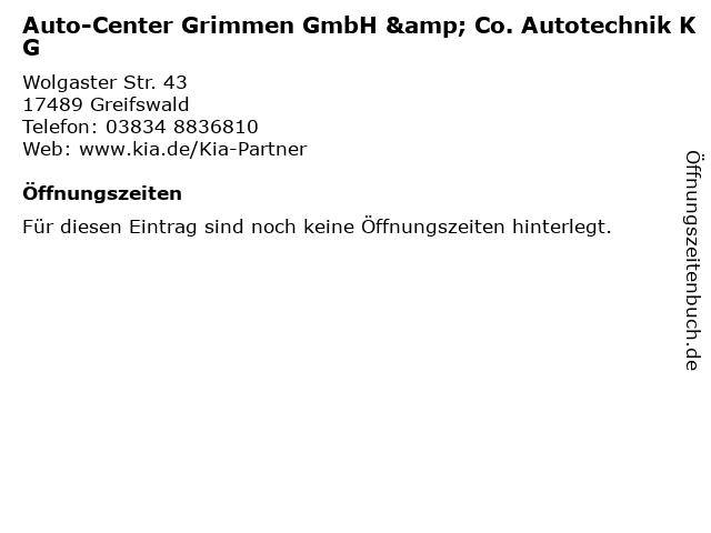 Auto-Center Grimmen GmbH & Co. Autotechnik KG in Greifswald: Adresse und Öffnungszeiten