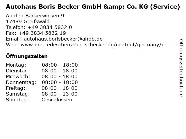 Autohaus Boris Becker GmbH & Co. KG (Service) in Greifswald: Adresse und Öffnungszeiten