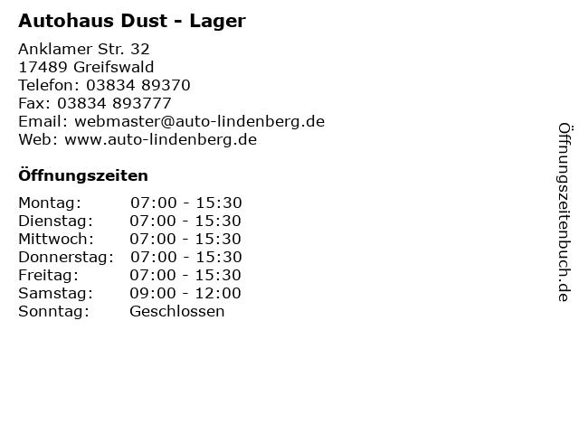 Autohaus Dust - Lager in Greifswald: Adresse und Öffnungszeiten