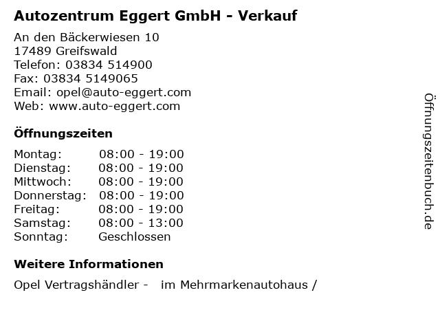 Autozentrum Eggert GmbH - Verkauf in Greifswald: Adresse und Öffnungszeiten