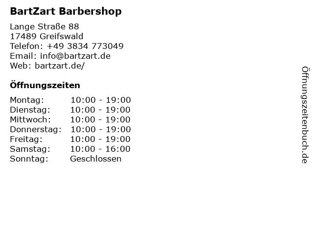 BartZart Barbershop in Greifswald: Adresse und Öffnungszeiten