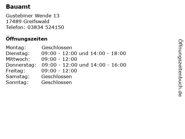 Bauamt in Greifswald: Adresse und Öffnungszeiten