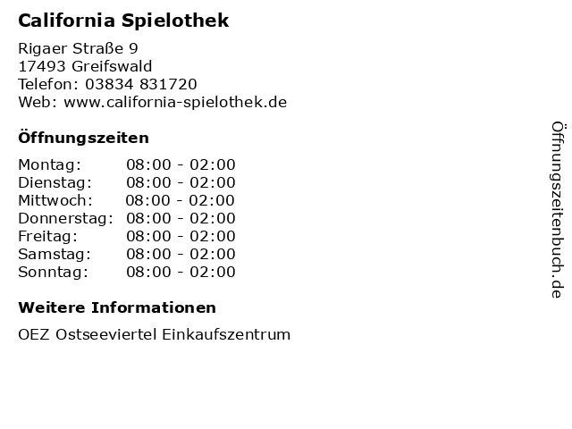 California Spielothek in Greifswald: Adresse und Öffnungszeiten