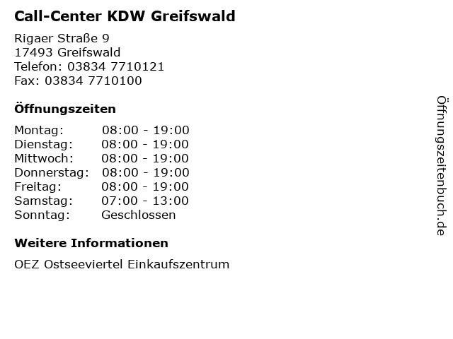 Call-Center KDW Greifswald in Greifswald: Adresse und Öffnungszeiten