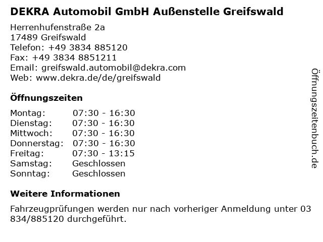 DEKRA Automobil GmbH Außenstelle Greifswald in Greifswald: Adresse und Öffnungszeiten