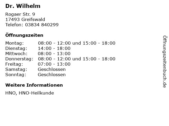 Dr. Wilhelm in Greifswald: Adresse und Öffnungszeiten