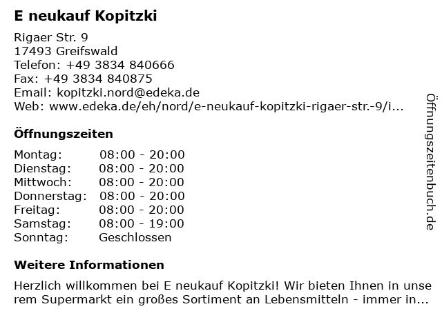 E neukauf Kopitzki in Greifswald: Adresse und Öffnungszeiten