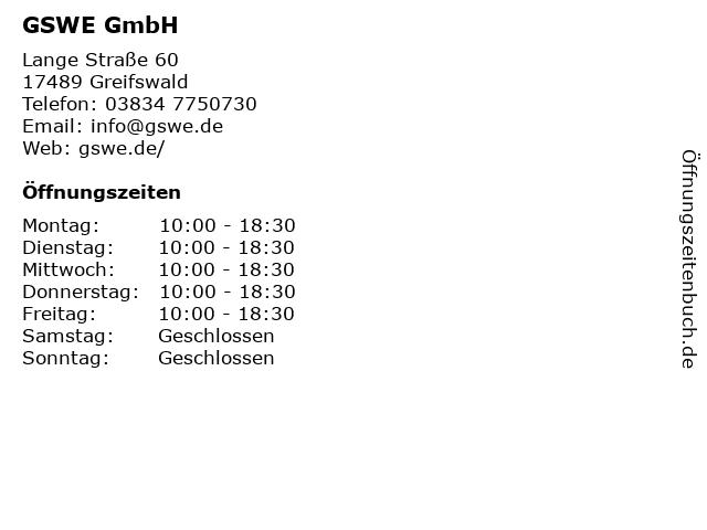 GSWE GmbH in Greifswald: Adresse und Öffnungszeiten