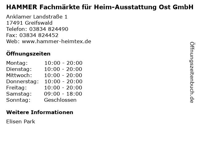 HAMMER Fachmärkte für Heim-Ausstattung Ost GmbH in Greifswald: Adresse und Öffnungszeiten