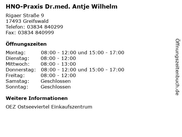HNO-Praxis Dr.med. Antje Wilhelm in Greifswald: Adresse und Öffnungszeiten