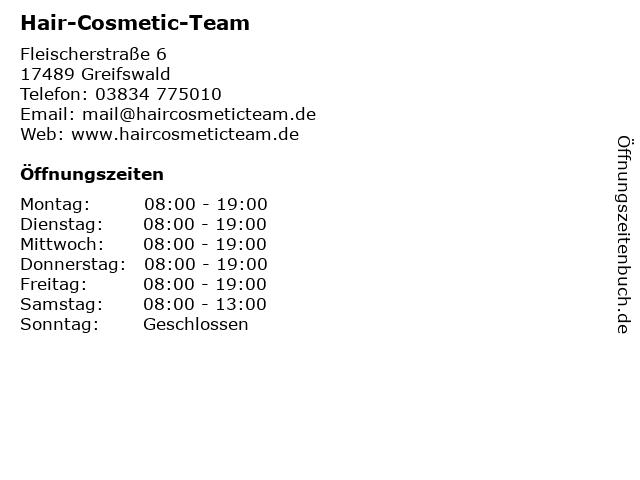 Hair-Cosmetic-Team in Greifswald: Adresse und Öffnungszeiten