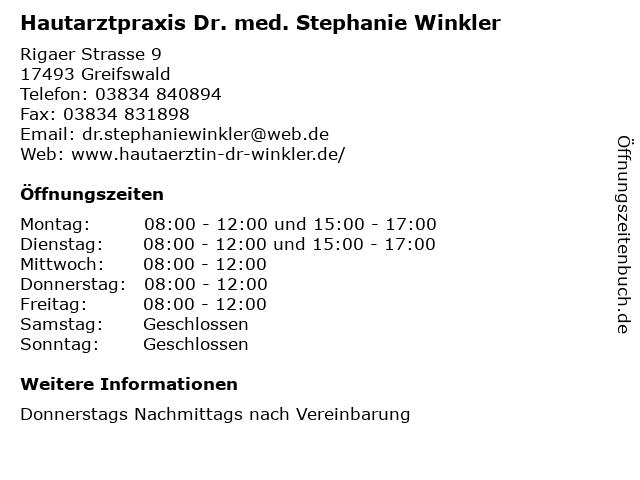 Hautarztpraxis Dr. med. Stephanie Winkler in Greifswald: Adresse und Öffnungszeiten