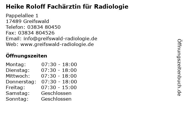 Heike Roloff Fachärztin für Radiologie in Greifswald: Adresse und Öffnungszeiten