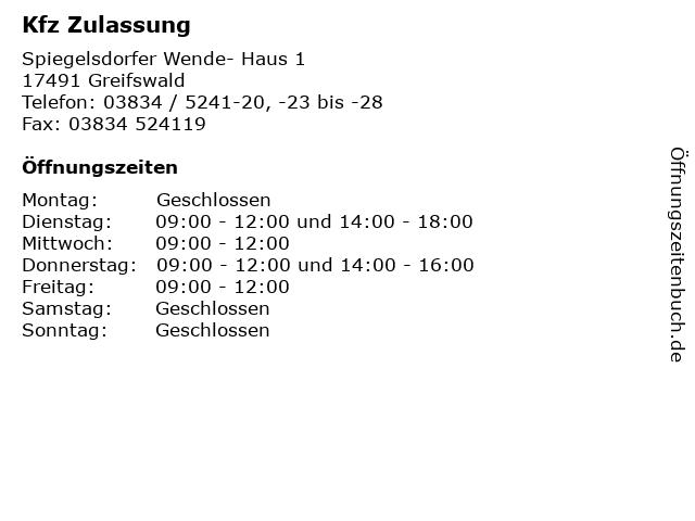Kfz Zulassung in Greifswald: Adresse und Öffnungszeiten