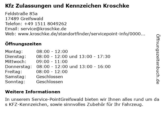 Kfz Zulassungen und Kennzeichen Kroschke in Greifswald: Adresse und Öffnungszeiten