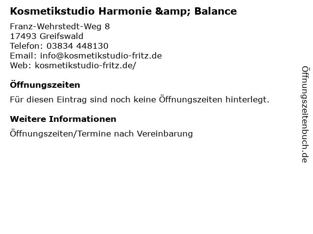Kosmetikstudio Harmonie & Balance in Greifswald: Adresse und Öffnungszeiten