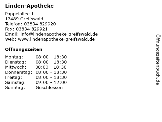 Linden-Apotheke in Greifswald: Adresse und Öffnungszeiten