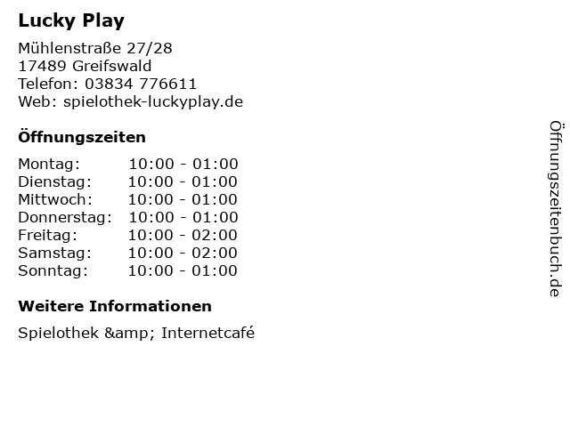 Lucky Play in Greifswald: Adresse und Öffnungszeiten