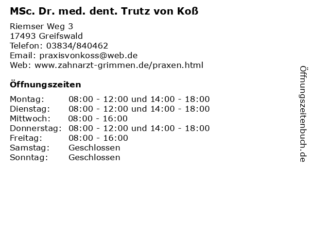MSc. Dr. med. dent. Trutz von Koß in Greifswald: Adresse und Öffnungszeiten