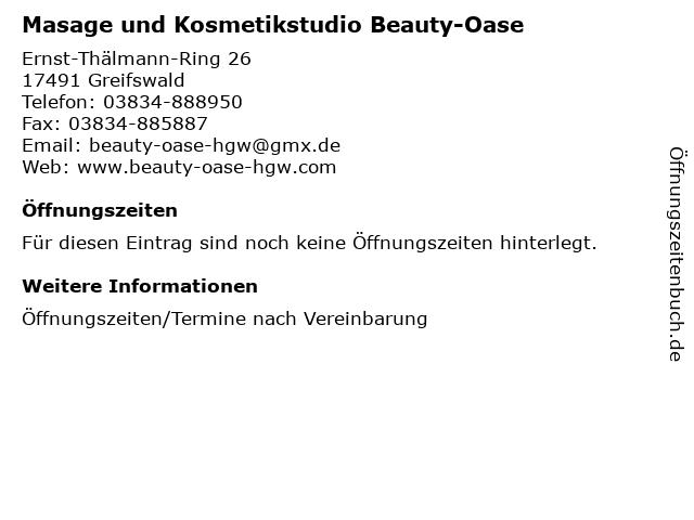 Masage und Kosmetikstudio Beauty-Oase in Greifswald: Adresse und Öffnungszeiten