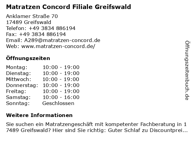 Matratzen Concord in Greifswald, Hansestadt: Adresse und Öffnungszeiten