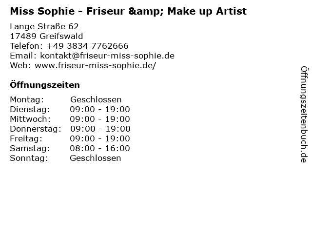 Miss Sophie - Friseur & Make up Artist in Greifswald: Adresse und Öffnungszeiten