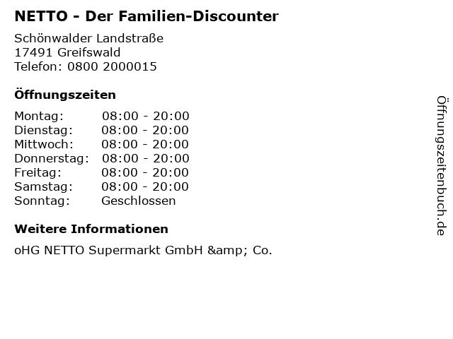 NETTO - Der Familien-Discounter in Greifswald: Adresse und Öffnungszeiten