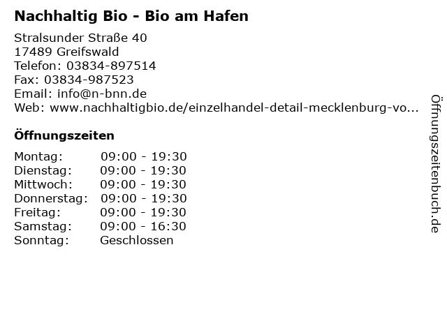 Nachhaltig Bio - Bio am Hafen in Greifswald: Adresse und Öffnungszeiten
