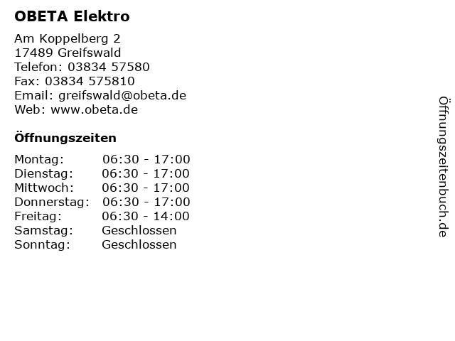 OBETA Elektro in Greifswald: Adresse und Öffnungszeiten
