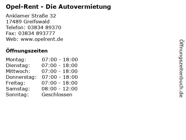 Opel-Rent - Die Autovermietung in Greifswald: Adresse und Öffnungszeiten