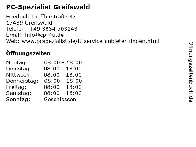PC-Spezialist Greifswald in Greifswald: Adresse und Öffnungszeiten