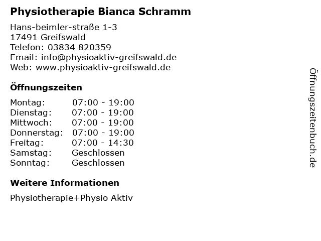 Physiotherapie Bianca Schramm in Greifswald: Adresse und Öffnungszeiten