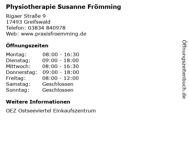 Physiotherapie Susanne Frömming in Greifswald: Adresse und Öffnungszeiten