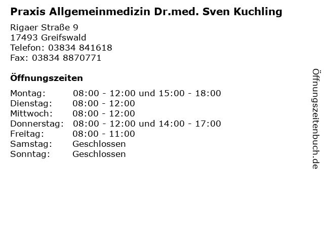 Praxis Allgemeinmedizin Dr.med. Sven Kuchling in Greifswald: Adresse und Öffnungszeiten