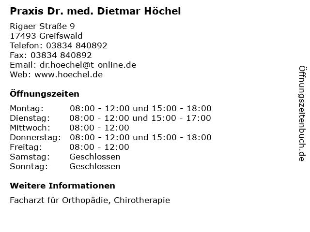 Praxis Dr. med. Dietmar Höchel in Greifswald: Adresse und Öffnungszeiten